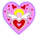 Valentine angel and heart clip art