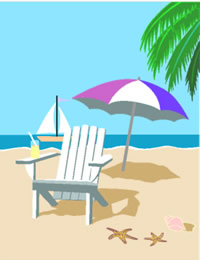 photograph relating to Printable Beach Pictures titled Printable Tropical Beach front Chair Greeting Card