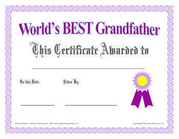 world's best grandfather certificate - father's day or any day