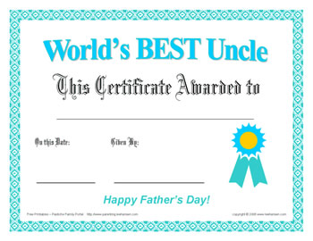best uncle father's day certificate free print award