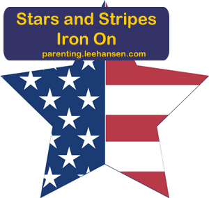 Star flag iron on transfer, printable patriotic craft sheet