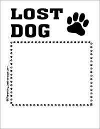 Lost dog printable sign template, Parenting.LeeHansen.com