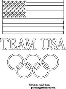 Printable Team USA Olympics Coloring Poster with Flag