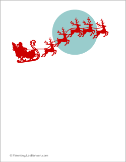 graphic relating to Printable Christmas Letter Paper titled Printable Xmas Paper, Santa and Reindeer inside Flight