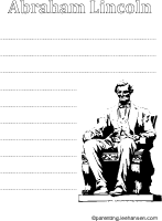 Abraham Lincoln worksheet coloring activity with lines