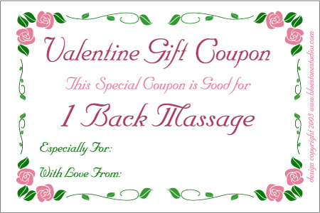 Cute Homemade Valentine Cards on Valentine Coupon Clip Art Or Printable For Back Massage