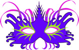 Feather blue mardi gras mask clip