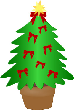 Christmas Tree Clip Art, Evergreen Tree with Red Bows Scrapbook Art