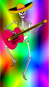 Day of the dead clip art - dancing skeleton with sombrero and guitar