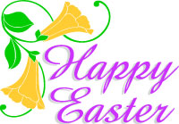 Easter clip art, lilies and Happy Easter