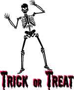 Trick or treat skeleton poster printable