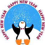 Happy New Year penguin clip art