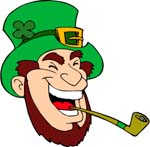 Leprechaun with pipe commercial clip art