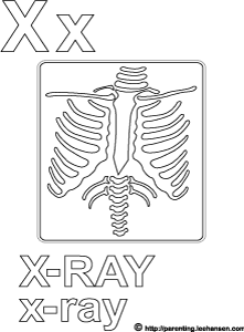 Letter X Alphabet Coloring Page X ray Printable Sheet