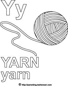 letter y alphabet coloring page yarn - Coloring Book Yarns