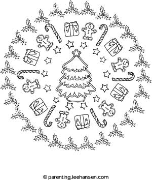 Christmas Mandala Coloring Page Parentingleehansen