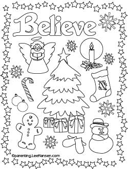 Christmas Poster Believe Coloring Page Printable