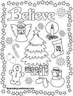 Christmas coloring poster, Believe - Parenting.LeeHansen.com