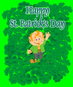 leprechaun in shamrocks st patrick's day card