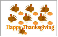 Thanksgiving greeting card - turkeys and pumpkins design