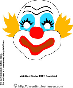 Circus clown mask printable