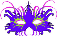 Blue and pink feather Mardi Gras mask printable