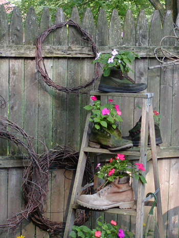 Boots and Ladder planter with impatiens