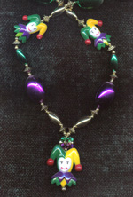 mardi gras bead necklace with jesters