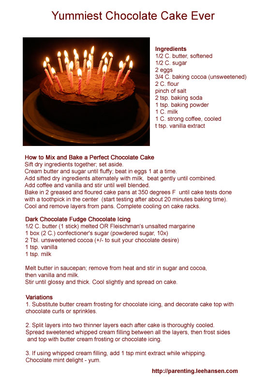 Printable Pictures Of Chocolate Cake : Homemade Chocolate Cake Recipe - World s Best Chocolate Cake