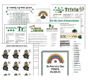 St. Patrick's Day printable games by Print Games Now